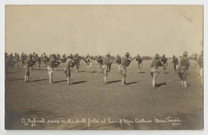 Primary view of object titled '[Postcard of Soldiers on Drill Field at Camp MacArthur]'.