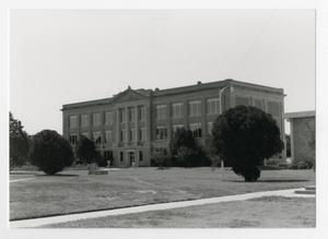 Primary view of object titled '[Photograph of Old Main in the 1990's]'.
