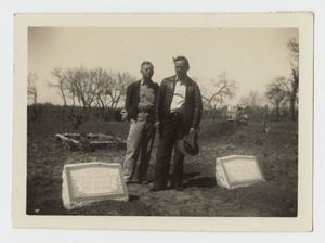 Primary view of object titled '[Photograph of the Grave Markers of John Franklin Dew and Ella Vandora Dew]'.