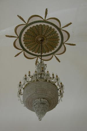 Primary view of object titled 'Cactus Hotel Ballroom, detail of chandelier'.