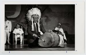 Primary view of object titled '[Photograph of Dr. Thomas Kim in a Headdress]'.