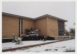 Primary view of object titled '[Photograph of Jay-Rollins Library in Snow]'.