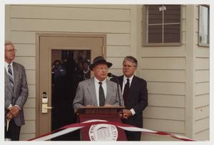 Primary view of object titled '[Photograph of Ceremony Opening Student Apartments]'.