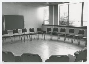 Primary view of object titled '[Photograph of Chairs in Classroom]'.