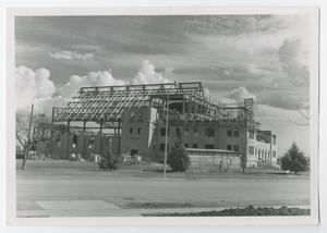 Primary view of object titled '[Photograph of Radford Hall Under Construction]'.