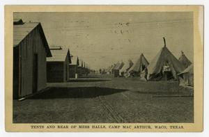 Primary view of object titled '[Postcard of Tents and Mess Halls at Camp MacArthur]'.