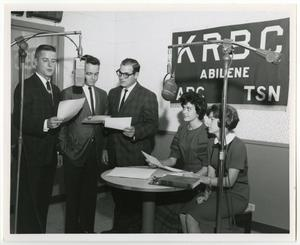 Primary view of object titled '[Photograph of McMurry Students Making Radio Speech]'.
