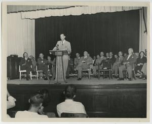 Primary view of object titled '[Photograph of William Bryan McDaniel Addressing Crowd]'.
