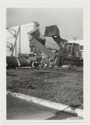 Primary view of object titled '[Photograph of Demolition of Old Indian Gym]'.