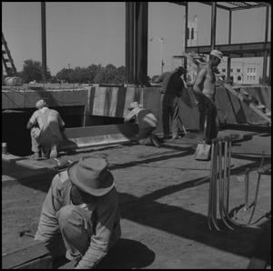 Primary view of object titled '[Photograph of Construction of Jay-Rollins Library]'.