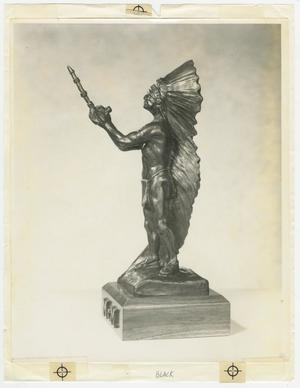 Primary view of object titled '[Photograph of McMurry College Indian Sculpture]'.