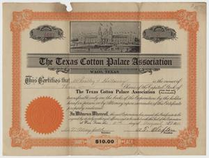 Primary view of object titled '[Stock Certificate for Texas Cotton Palace Association]'.