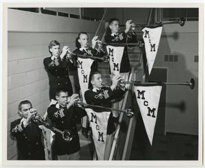 Primary view of object titled '[Photograph of McMurry University Fanfare Trumpeters on Stairs]'.
