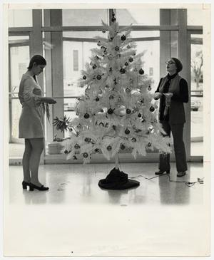 Primary view of object titled '[Photograph of Students Decorating Christmas Tree]'.