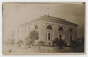 Primary view of object titled '[Postcard of Rosenberg Library]'.