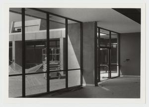 Primary view of object titled '[Inside the Campus Center, Looking Out]'.