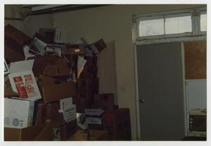 Primary view of object titled '[Photograph of Boxes in Old Main Storeroom]'.