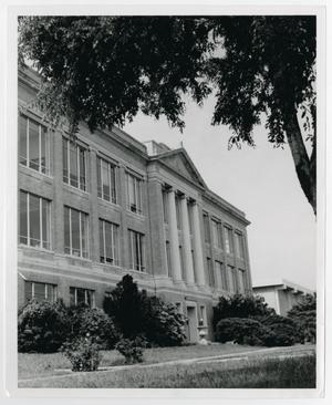 Primary view of object titled '[Photograph of Old Main and Science Building]'.