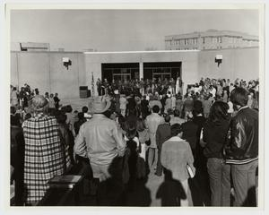 Primary view of object titled '[Photograph of Crowd at Campus Center Ribbon Cutting]'.