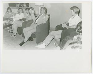 Primary view of object titled '[Photograph of Dr. Thomas Kim with Students]'.