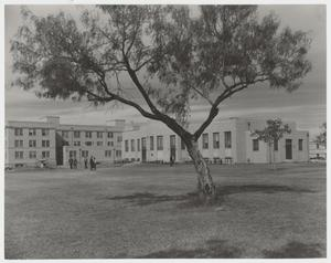 Primary view of object titled '[Photograph of Iris Graham Memorial Dining Hall and Gold Star Memorial Residence Hall]'.