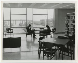 Primary view of object titled '[Photograph of Students Inside the Jay-Rollins Library]'.