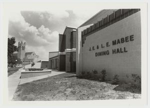 Primary view of object titled '[Photograph of J. E. and L. E. Mabee Dining Hall]'.