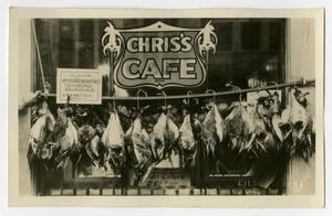 Primary view of object titled '[Postcard of Dead Ducks at Chris's Cafe]'.