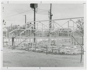Primary view of object titled '[Photograph of Framing of the Maintenance Building]'.