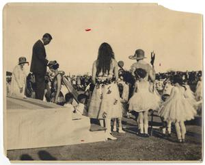 Primary view of object titled '[Photograph of J. W. Hunt Crowning May Fete Queen]'.