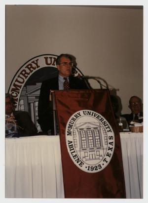 Primary view of object titled '[Photograph of Dr. Robert Shimp at Homecoming Dinner]'.