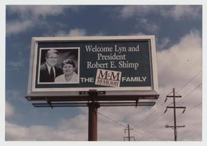 Primary view of object titled '[Photograph of Billboard Welcome Sign]'.