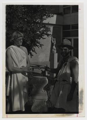Primary view of object titled '[Photograph of Two Students in Togas]'.