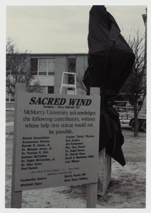 Primary view of object titled '[Photograph of Sacred Wind Sign]'.