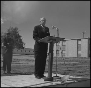 Primary view of object titled '[Photograph of Speaker at Groundbreaking for the Jay-Rollins Library]'.
