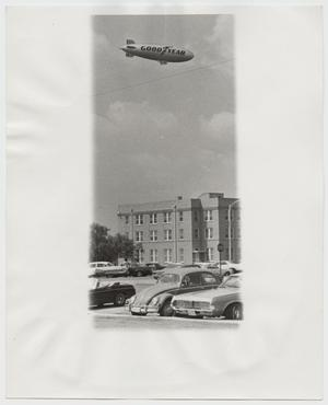 Primary view of object titled '[Photograph of Goodyear Blimp over McMurry Campus]'.