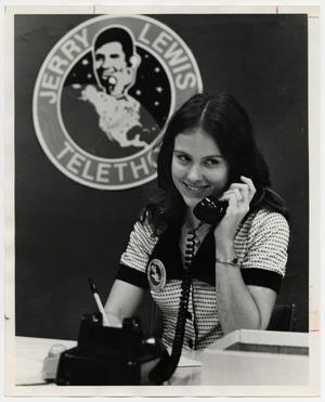 Primary view of object titled '[Photograph of Glenda Evans on the Telephone]'.