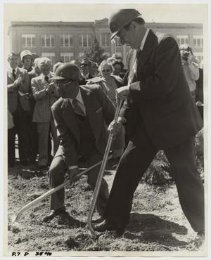 Primary view of object titled '[Photograph of Campus Center Groundbreaking]'.