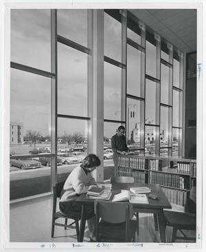 Primary view of object titled '[Photograph of Students Studying in McMurry Library]'.