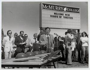 Primary view of object titled '[Photograph of Dr. Thomas Kim at a Groundbreaking Ceremony]'.