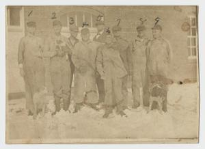 Primary view of object titled '[Photograph of Men at Epileptic Colony of Abilene]'.
