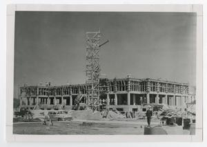 Primary view of object titled '[Photograph of Construction of Gold Star Dormitory]'.