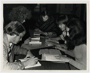 Primary view of object titled '[Photograph of McMurry Students Studying]'.