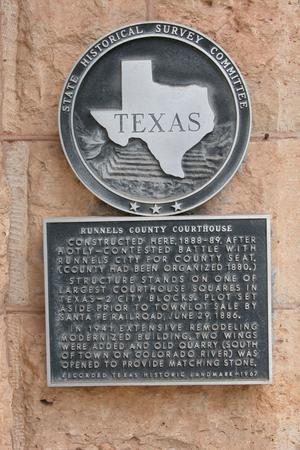 Runnels County Courthouse, plaque