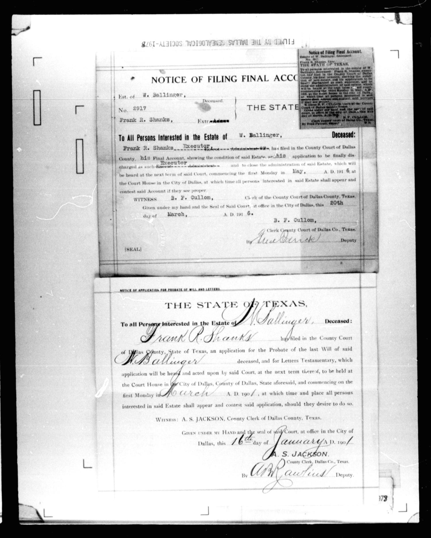 dallas county probate case 2202 ballinger w deceased page 3 of 17 the portal to texas history