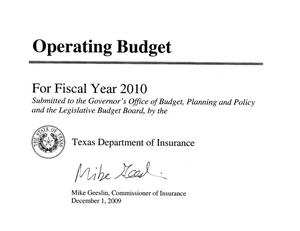 Primary view of object titled 'Texas Department of Insurance Operating Budget: 2010 [Summaries]'.