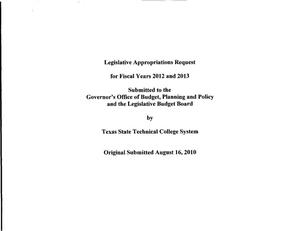 Primary view of object titled 'Texas State Technical College System Requests for Legislative Appropriations : 2012 and 2013'.