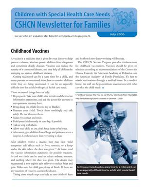 Primary view of object titled 'Children with Special Health Care Needs: Newsletter for Families, July 2006'.