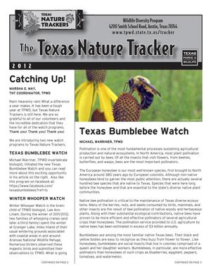 Primary view of object titled 'The Texas Nature Tracker, 2012'.