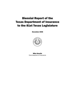 Primary view of object titled 'Biennial Report to the 81st Texas Legislature: Department of Insurance'.